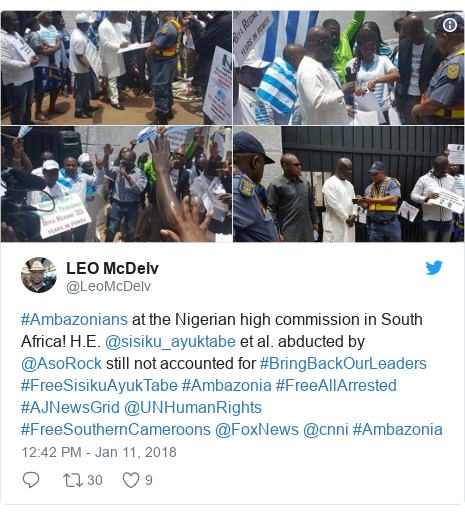 Twitter post by @LeoMcDelv: #Ambazonians at the Nigerian high commission in South Africa! H.E. @sisiku_ayuktabe et al. abducted by @AsoRock still not accounted for #BringBackOurLeaders #FreeSisikuAyukTabe #Ambazonia #FreeAllArrested #AJNewsGrid @UNHumanRights #FreeSouthernCameroons @FoxNews @cnni #Ambazonia