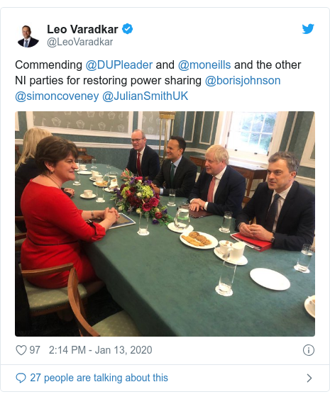 Twitter post by @LeoVaradkar: Commending @DUPleader and @moneills and the other NI parties for restoring power sharing @borisjohnson @simoncoveney @JulianSmithUK