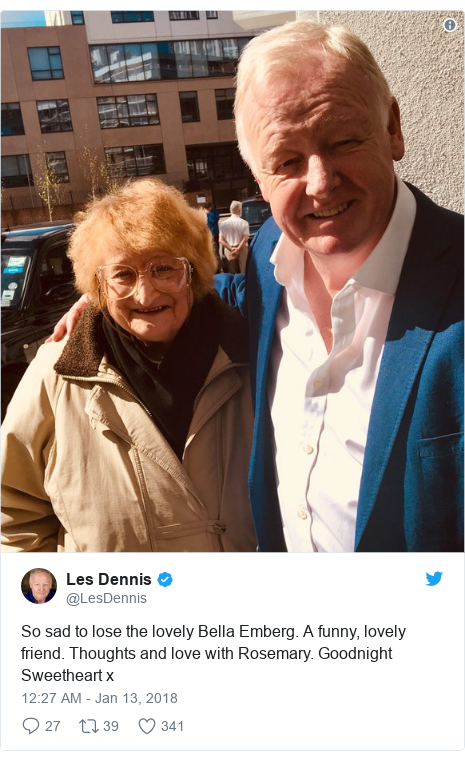 Twitter post by @LesDennis: So sad to lose the lovely Bella Emberg. A funny, lovely friend. Thoughts and love with Rosemary. Goodnight Sweetheart x