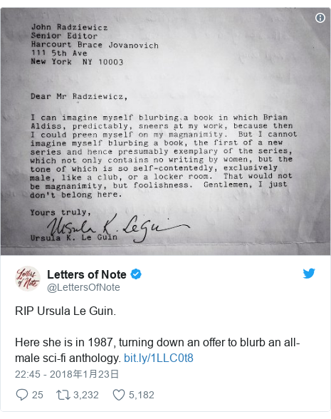 Twitter post by @LettersOfNote: RIP Ursula Le Guin. Here she is in 1987, turning down an offer to blurb an all-male sci-fi anthology.