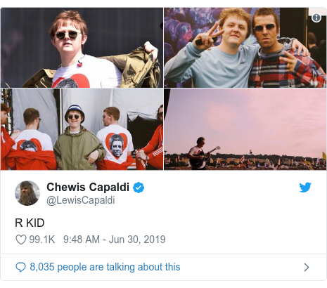 Twitter post by @LewisCapaldi: R KID