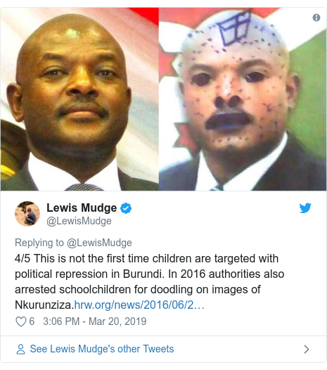 Ujumbe wa Twitter wa @LewisMudge: 4/5 This is not the first time children are targeted with political repression in Burundi. In 2016 authorities also arrested schoolchildren for doodling on images of Nkurunziza.