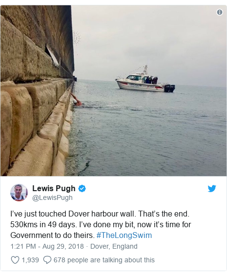 Twitter post by @LewisPugh: I've just touched Dover harbour wall. That's the end. 530kms in 49 days. I've done my bit, now it's time for Government to do theirs. #TheLongSwim