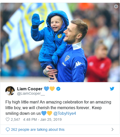 Twitter post by @LiamCooper__: Fly high little man! An amazing celebration for an amazing little boy, we will cherish the memories forever.. Keep smiling down on us💙💛 @TobyNye4