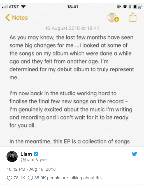 Twitter post by @LiamPayne: