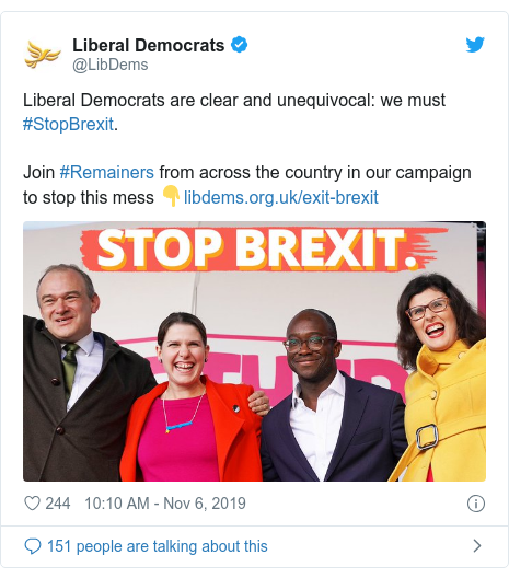 Twitter post by @LibDems: Liberal Democrats are clear and unequivocal  we must #StopBrexit.Join #Remainers from across the country in our campaign to stop this mess 👇