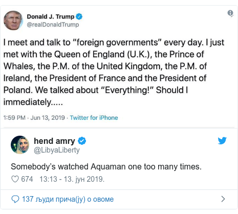 Twitter post by @LibyaLiberty: Somebody's watched Aquaman one too many times.