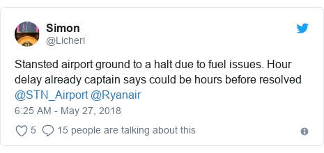 Twitter post by @Licheri: Stansted airport ground to a halt due to fuel issues. Hour delay already captain says could be hours before resolved @STN_Airport @Ryanair