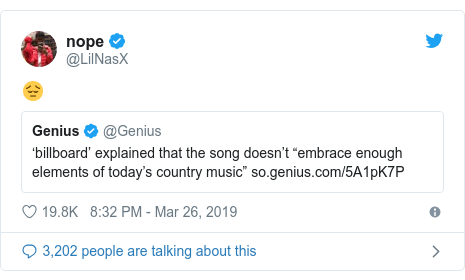 Twitter post by @LilNasX: 😔
