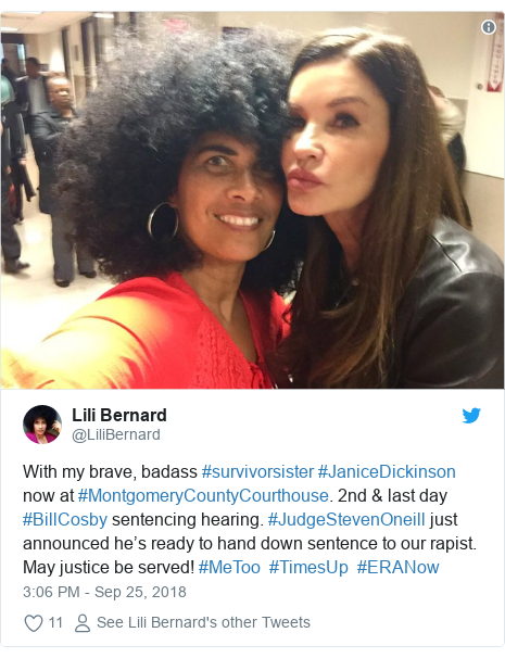Twitter post by @LiliBernard: With my brave, badass #survivorsister #JaniceDickinson now at #MontgomeryCountyCourthouse. 2nd & last day #BillCosby sentencing hearing. #JudgeStevenOneill just announced he's ready to hand down sentence to our rapist. May justice be served! #MeToo⁠ ⁠⁠ ⁠#TimesUp⁠ ⁠ #ERANow