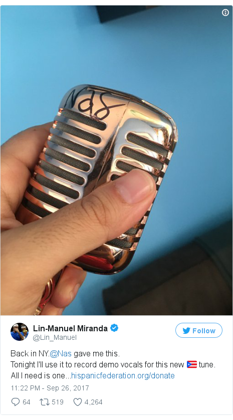 Twitter post by @Lin_Manuel: Back in NY.@Nas gave me this.Tonight I'll use it to record demo vocals for this new 🇵🇷 tune. All I need is one...https //t.co/pxx7qvHPdf pic.twitter.com/OHxwLEgTXQ