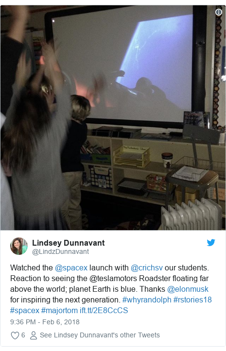 Twitter post by @LindzDunnavant: Watched the @spacex launch with @crichsv our students. Reaction to seeing the @teslamotors Roadster floating far above the world; planet Earth is blue. Thanks @elonmusk for inspiring the next generation. #whyrandolph #rstories18 #spacex #majortom