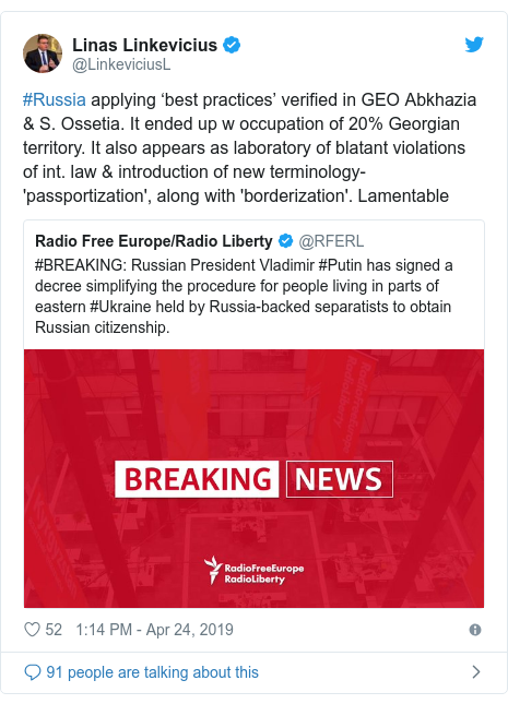 Twitter post by @LinkeviciusL: #Russia applying 'best practices' verified in GEO Abkhazia & S. Ossetia. It ended up w occupation of 20% Georgian territory. It also appears as laboratory of blatant violations of int. law & introduction of new terminology-'passportization', along with 'borderization'. Lamentable