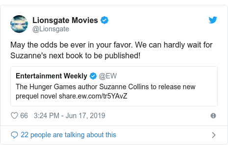 Twitter post by @Lionsgate: May the odds be ever in your favor. We can hardly wait for Suzanne's next book to be published!