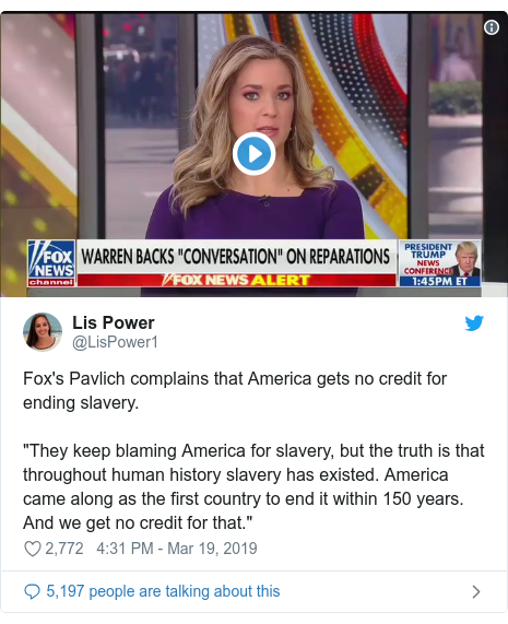 """Twitter post by @LisPower1: Fox's Pavlich complains that America gets no credit for ending slavery.""""They keep blaming America for slavery, but the truth is that throughout human history slavery has existed. America came along as the first country to end it within 150 years. And we get no credit for that."""""""