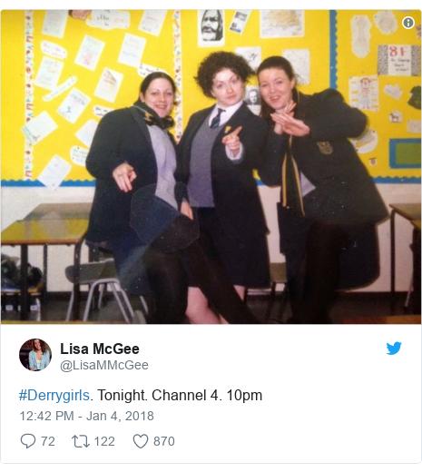 Twitter post by @LisaMMcGee: #Derrygirls. Tonight. Channel 4. 10pm