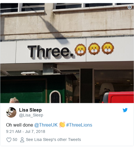 Twitter post by @Lisa_Sleep: Oh well done @ThreeUK 👏 #ThreeLions