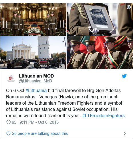 Twitter post by @Lithuanian_MoD: On 6 Oct #Lithuania bid final farewell to Brg Gen Adolfas Ramanauskas - Vanagas (Hawk), one of the prominent leaders of the Lithuanian Freedom Fighters and a symbol of Lithuania's resistance against Soviet occupation. His remains were found  earlier this year. #LTFreedomFighters
