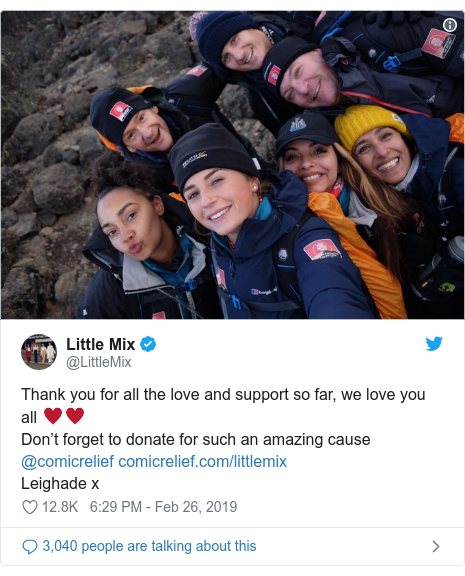 Twitter post by @LittleMix: Thank you for all the love and support so far, we love you all ♥️♥️Don't forget to donate for such an amazing cause @comicrelief Leighade x