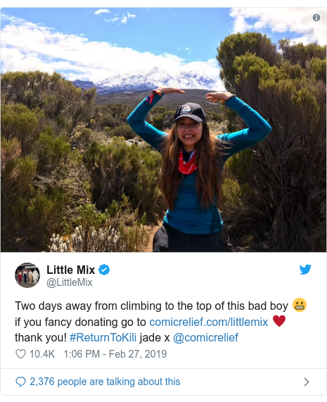 Twitter post by @LittleMix: Two days away from climbing to the top of this bad boy 😬 if you fancy donating go to  ♥️ thank you! #ReturnToKili jade x @comicrelief