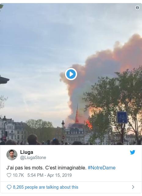 Twitter post by @LiugaStone: J'ai pas les mots. C'est inimaginable. #NotreDame