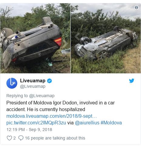 @Liveuamap tərəfindən edilən Twitter paylaşımı: President of Moldova Igor Dodon, involved in a car accident. He is currently hospitalized   via @aiurellius #Moldova