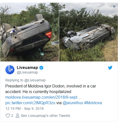 Ujumbe wa Twitter wa @Liveuamap: President of Moldova Igor Dodon, involved in a car accident. He is currently hospitalized   via @aiurellius #Moldova