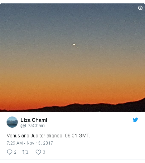 Twitter post by @LizaChami: Venus and Jupiter aligned. 06 01 GMT.