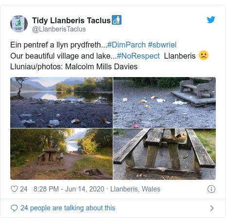 Twitter post by @LlanberisTaclus: Ein pentref a llyn prydfreth...#DimParch #sbwrielOur beautiful village and lake...#NoRespect  Llanberis ☹️Lluniau/photos  Malcolm Mills Davies