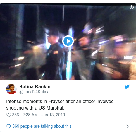 Twitter post by @Local24Katina: Intense moments in Frayser after an officer involved shooting with a US Marshal.