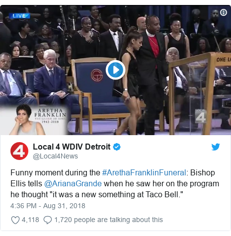 "Twitter post by @Local4News: Funny moment during the #ArethaFranklinFuneral  Bishop Ellis tells @ArianaGrande when he saw her on the program he thought ""it was a new something at Taco Bell."""