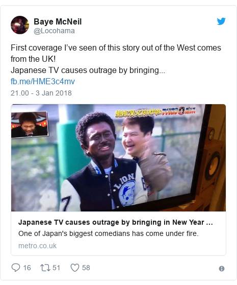 Twitter pesan oleh @Locohama: First coverage I've seen of this story out of the West comes from the UK!Japanese TV causes outrage by bringing...
