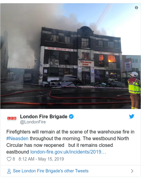 Twitter post by @LondonFire: Firefighters will remain at the scene of the warehouse fire in #Neasden throughout the morning. The westbound North Circular has now reopened   but it remains closed eastbound