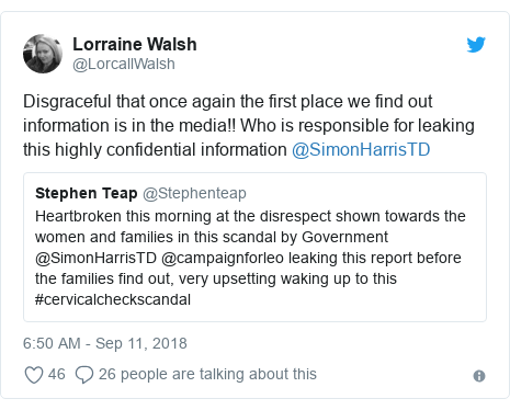 Twitter post by @LorcallWalsh: Disgraceful that once again the first place we find out information is in the media!! Who is responsible for leaking this highly confidential information @SimonHarrisTD