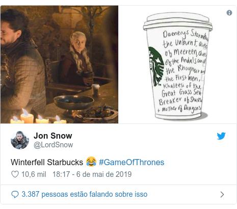 Twitter post de @LordSnow: Winterfell Starbucks 😂 #GameOfThrones