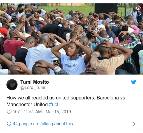 Twitter post by @Lord_Tumi: How we all reacted as united supporters. Barcelona vs Manchester United.#ucl