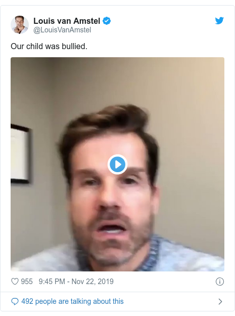 Twitter post by @LouisVanAmstel: Our child was bullied.