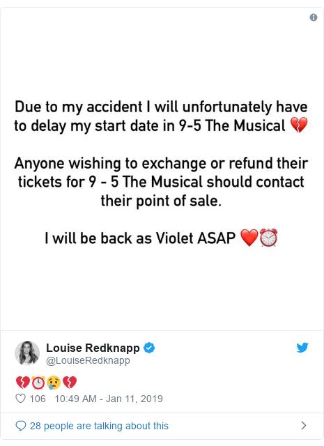 Twitter post by @LouiseRedknapp: 💔⏰😢💔