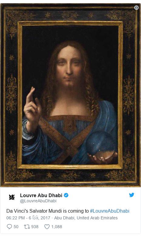 Twitter post by @LouvreAbuDhabi: Da Vinci's Salvator Mundi  is coming to #LouvreAbuDhabi