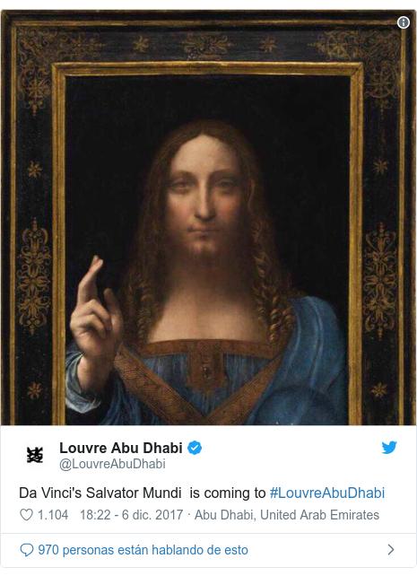 Publicación de Twitter por @LouvreAbuDhabi: Da Vinci's Salvator Mundi  is coming to #LouvreAbuDhabi