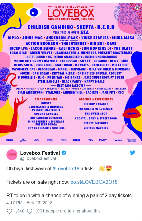 Twitter post by @LoveboxFestival: Oh hiya, first wave of #Lovebox18 artists…👋😍Tickets are on sale right now   RT to be in with a chance of winning a pair of 2 day tickets.