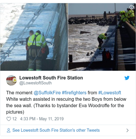 Twitter post by @LowestoftSouth: The moment @SuffolkFire #firefighters from #Lowestoft White watch assisted in rescuing the two Boys from below the sea wall. (Thanks to bystander Eva Woodroffe for the pictures)