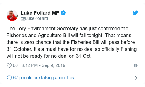 Twitter post by @LukePollard: The Tory Environment Secretary has just confirmed the Fisheries and Agriculture Bill will fall tonight. That means there is zero chance that the Fisheries Bill will pass before 31 October. It's a must have for no deal so officially Fishing will not be ready for no deal on 31 Oct