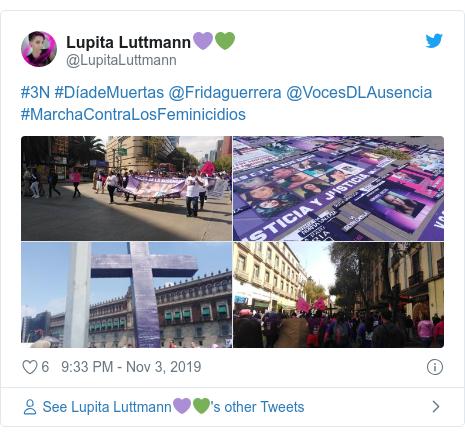 Twitter post by @LupitaLuttmann: #3N #DíadeMuertas @Fridaguerrera @VocesDLAusencia #MarchaContraLosFeminicidios
