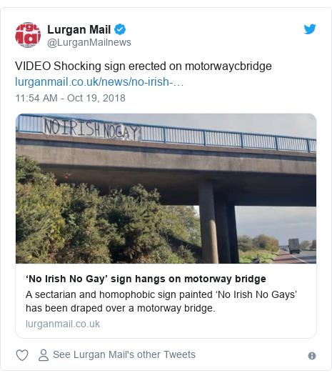 Twitter post by @LurganMailnews: VIDEO Shocking sign erected on motorwaycbridge