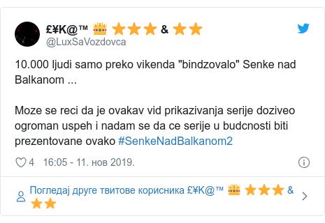 """Twitter post by @LuxSaVozdovca: 10.000 ljudi samo preko vikenda """"bindzovalo"""" Senke nad Balkanom ...Moze se reci da je ovakav vid prikazivanja serije doziveo ogroman uspeh i nadam se da ce serije u budcnosti biti prezentovane ovako #SenkeNadBalkanom2"""