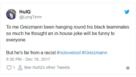 Twitter post by @LyngTerm: To me Greizmann been hanging round his black teammates so much he thought an in-house joke will be funny to everyone. But he's far from a racist #nolovelost #Greizmann