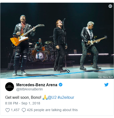 Twitter post by @MBArenaBerlin: Get well soon, Bono! 🙏@U2 #u2eitour