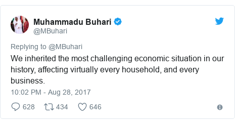Twitter post by @MBuhari: We inherited the most challenging economic situation in our history, affecting virtually every household, and every business.
