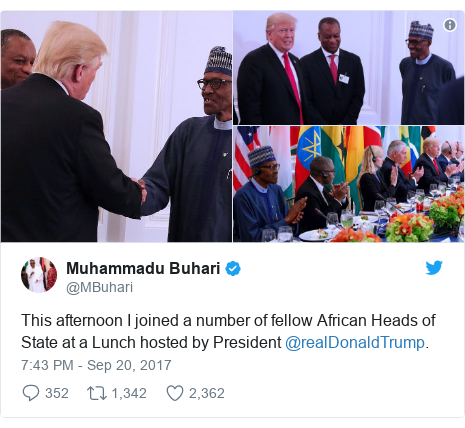 Twitter post by @MBuhari: This afternoon I joined a number of fellow African Heads of State at a Lunch hosted by President @realDonaldTrump.